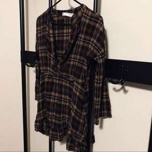 Plaid Dress Zara Denim Collection Size S